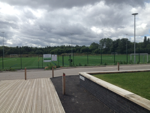 The training pitches in front of the ground - the empty area for playing around on is just to the left in this picture.