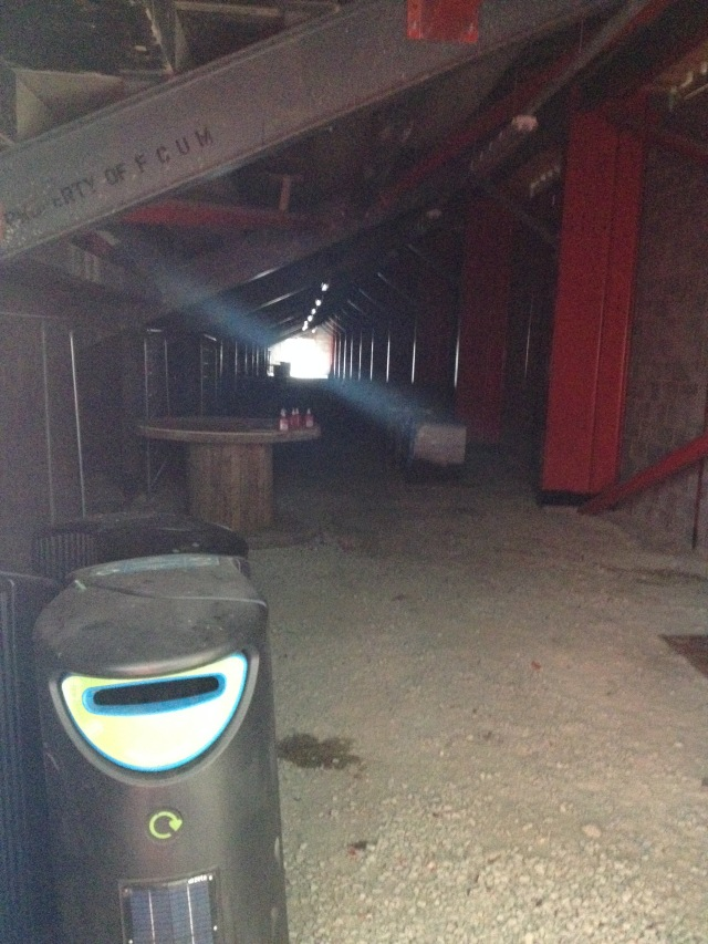 This area - under the former Northwich Victoria stand - was used as an impromptu bar for the inaugural match against Benfica. Long-term, it will be converted into community classrooms.